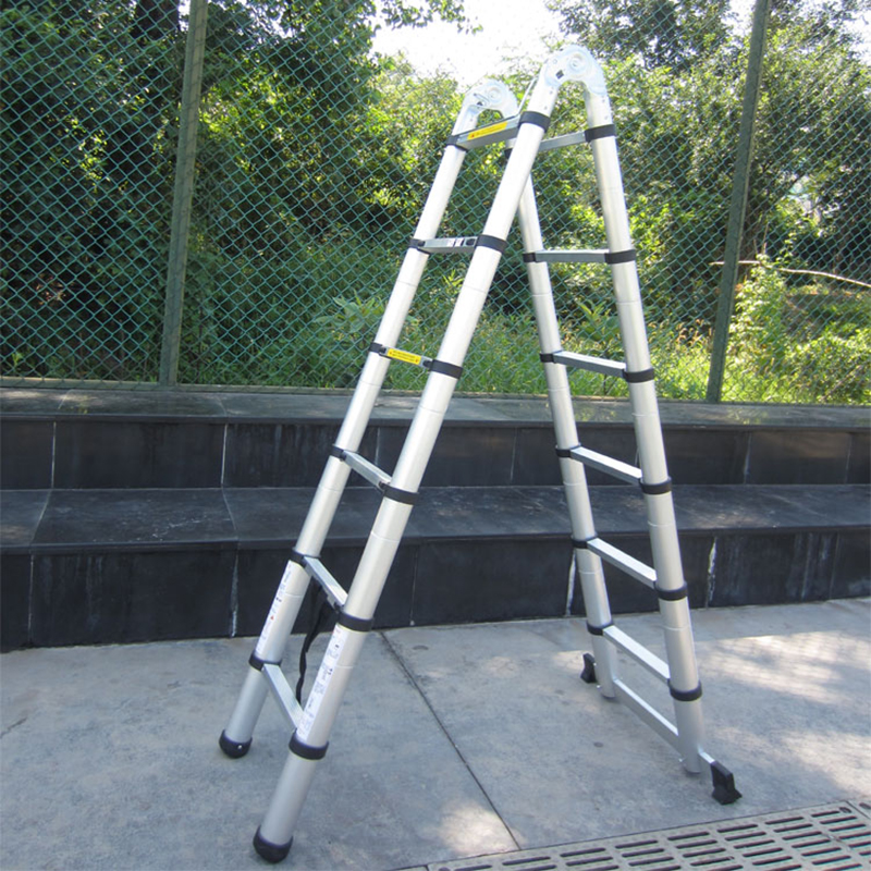 2pcs 1.9M+1.9M Portable Aluminum AlloyTelescopic Ladder With Joint Multipurpose Retractable Straight Ladder