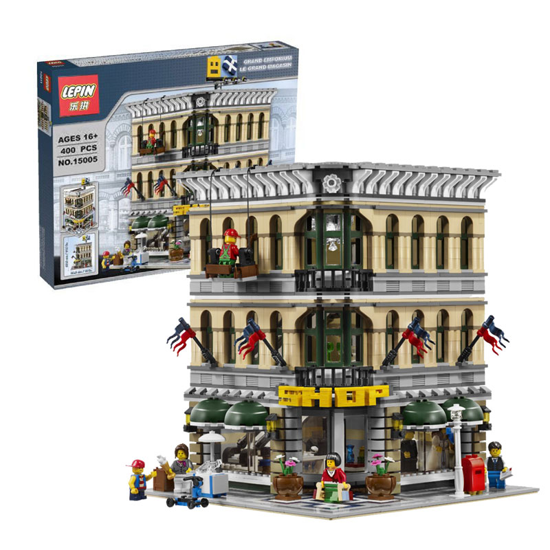 2232Pcs 2016 New font b LEPIN b font 15005 City Creator Grand Emporium Model Building Kits