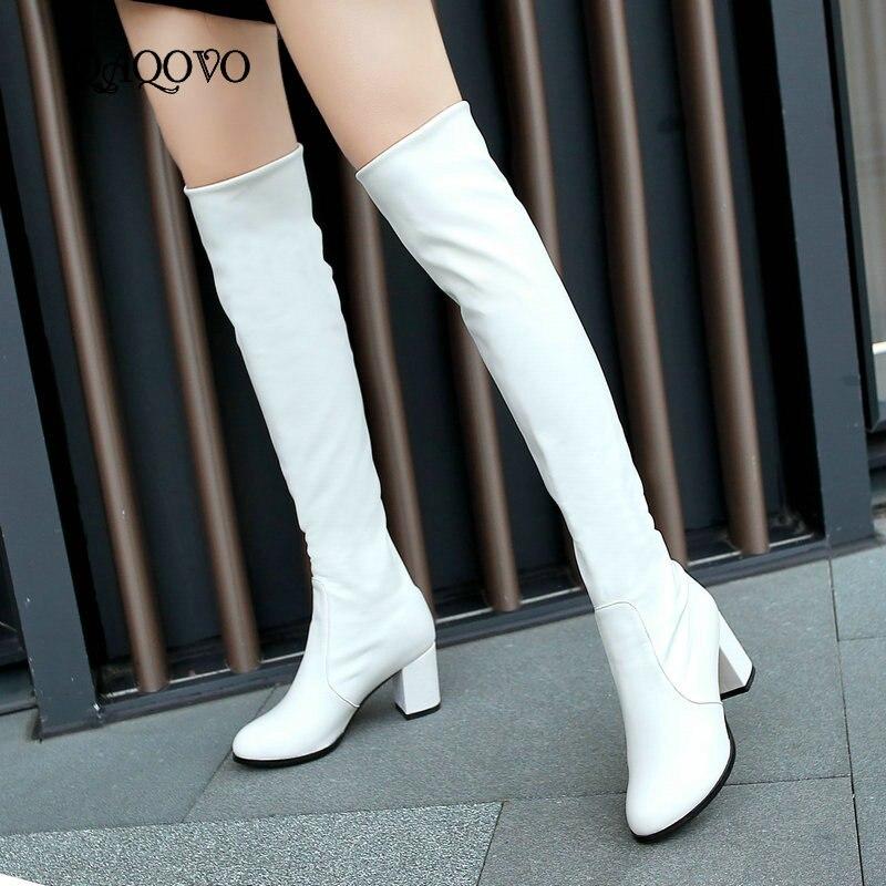 Mode Kniehohe Stiefel frauen Winter Stiefel Dicke High Heels Lange Stiefel Runde Rutsch Auf Frühjahr Herbst Schuhe Frau schwarz Weiß