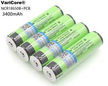 Batterie Rechargeable 18650 li-ion, 3400 mAh, 3.7 V, avec PCB pour lampe de poche, Protection VariCore, 4 pièces/lot