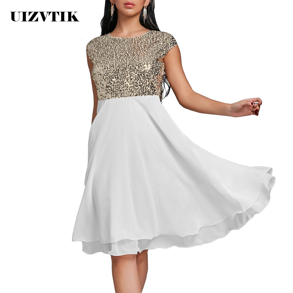 Women Summer Dress 2019 Elegant Sexy Sequin Evening Party Dress Casual Plus Size Slim Chiffon Ball Gown Dresses White Black 5XL