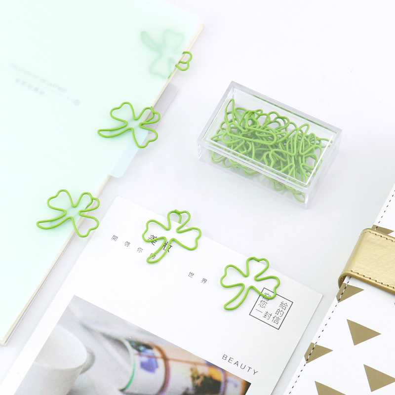 TUTU Free Shipping 15pcs/box Four Leaf Clover Clip Befriend Metal Paper Clips Memo Clip Metal Binder Paperclip  H0222