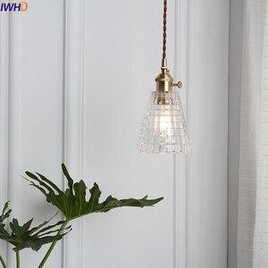 Image 3 - Iwhd 북유럽 구리 유리 펜 던 트 전등 설비 침실 거실 로프트 펜 던 트 조명 매달려 램프 luminaire 조명