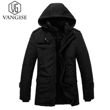 VanGise 2017 Fashion Hooded Long trench coat men Thick Winter parkas jacket men's Warm trench coat male Casual Cotton overcoat