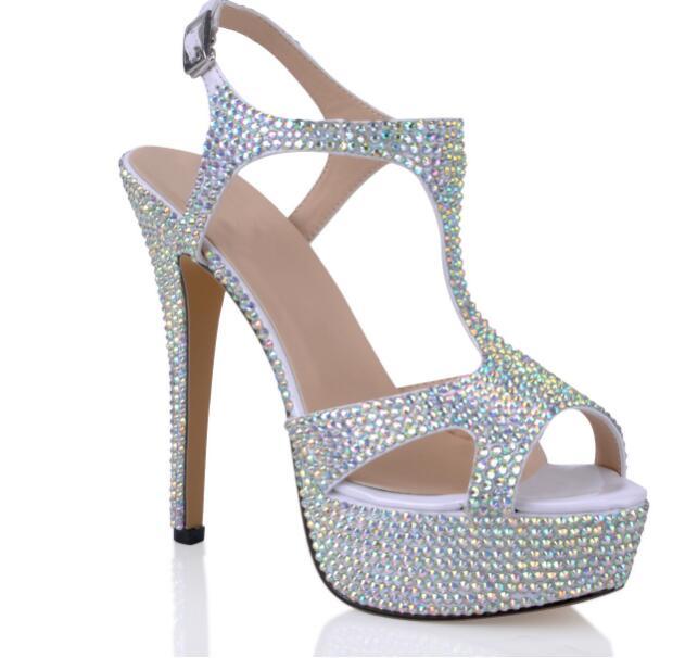 Hauts Coloré Peep Chaussures 4 5 Toe À Cm 6 Sandales 14 Plateforme Cristaux Talons Cuir Marque Pompes Strass 2 Dames 2019 1 3 Véritable Femmes xFwqvP7Y