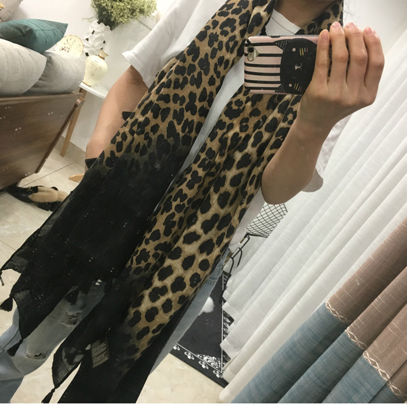 Cotton linen women spring winter leopard graded   scarf   large size 180*90 office lady shawls traveling pashmina   scarves     wraps