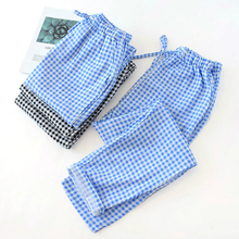 Summer Cotton Gauze Thin Pajama Pants Plus Size Couple Plaid Sleep Loun