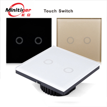 Intelligent waterproof wall switch, Touch Switch, The LED indicator, white glass panel, 110 ~ 240 v, the 2 – gang/eu standards