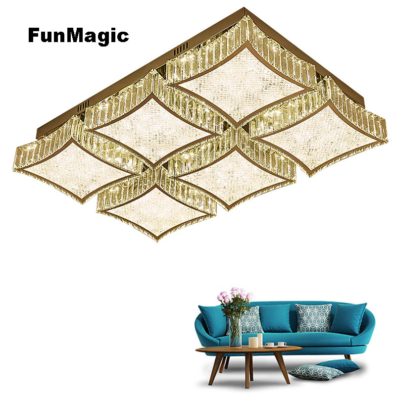 Luxury Led Crystal Ceiling Light Rectangle Lighting Living Dining Room Led Lamp Stepless Dimming Surface Mounted Bedroom Fixture