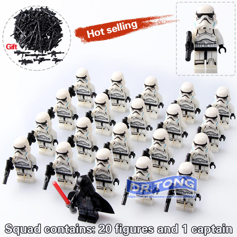 DR.TONG 20pcs/lot Star Wars Imperial Clone STORM Trooper Clone Soldiers with Weapon Building Block Mini Kids Toys Children Gifts