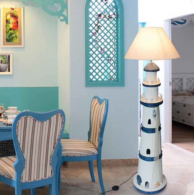 Mediterranean lighthouse floor lamp childrens room bedroom lamp mediterranean lighthouse floor lamp childrens room bedroom lamp restaurant study lamp led boys floor light free shipping in floor lamps from lights aloadofball Image collections