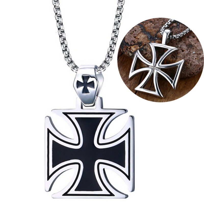 NFS Mens Corss Necklace Stainless Steel Vintage Maltese Iron Cross Pendant Necklace Knights of the TempleNFS Mens Corss Necklace Stainless Steel Vintage Maltese Iron Cross Pendant Necklace Knights of the Temple