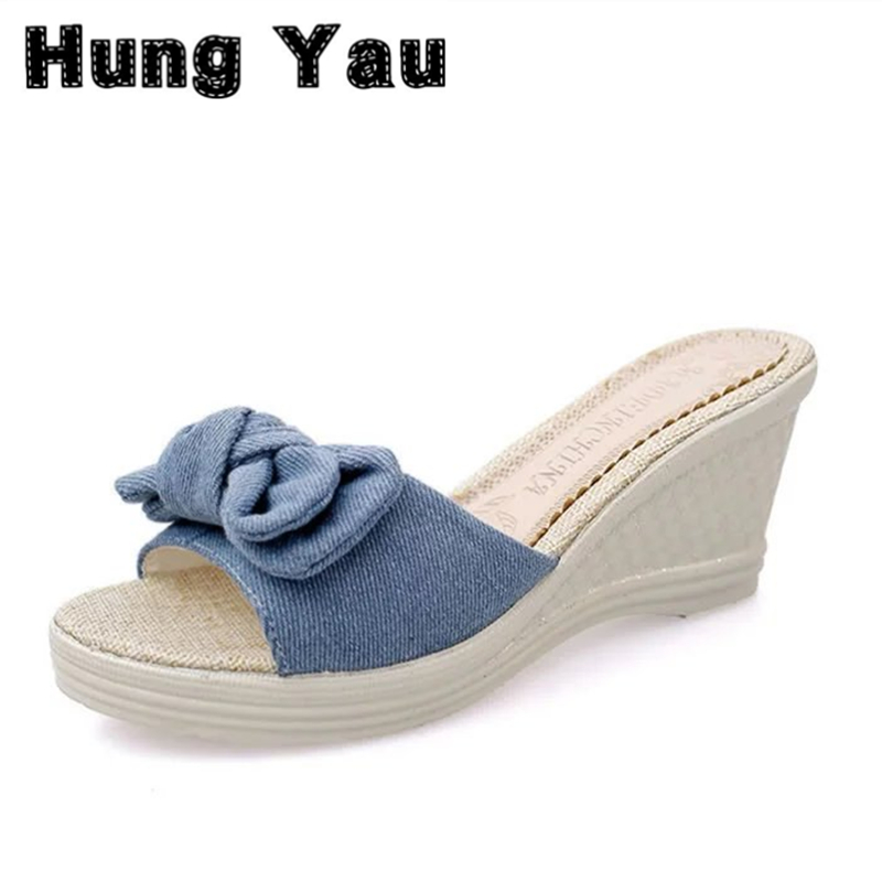 Gladiator Sandals Platform Knitted Women Wedges Shoes Female Open Toe High Flip Flops Summer Style Bow tie High Heels Size US 9 2017 summer shoes woman platform sandals women soft leather casual open toe gladiator wedges sandalia mujer women shoes flats