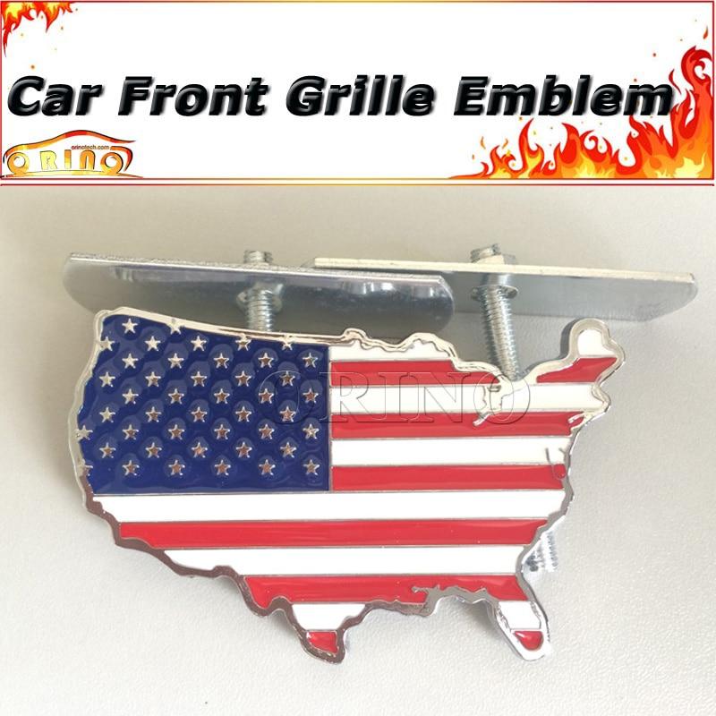 3d Us American Flag Map Car Front Grille Emblem Badge For Dodge Cadillac Bmw Audi Volkswagen Skoda Ford Chevrolet Opel Volvo