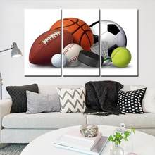 Basketball Rugby Football Modular Paintings on The Walls Canvas Art Print Painting Poster for Kids Room 3 Pieces No Framed(China)