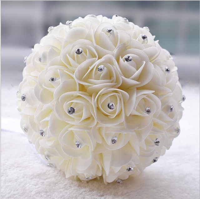 Beautiful white ivory artificial flower wedding bouquets bridal beautiful white ivory artificial flower wedding bouquets bridal bouquet bridesmaid flower rose bouquet crystal bridal bouquets mightylinksfo