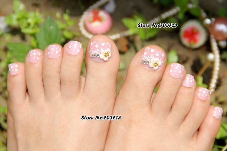24x nail art lover artificial false ladyu0027s pre design toenails toes flower lovely pink z505in false nails from beauty u0026 health on alibaba