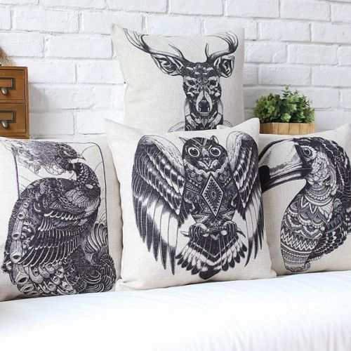 Vintage African Totem Animal Pattern Cushion Cover Peacock Owl Toucan Antelope Black Linen Throw pillow Case 18 Home Decor