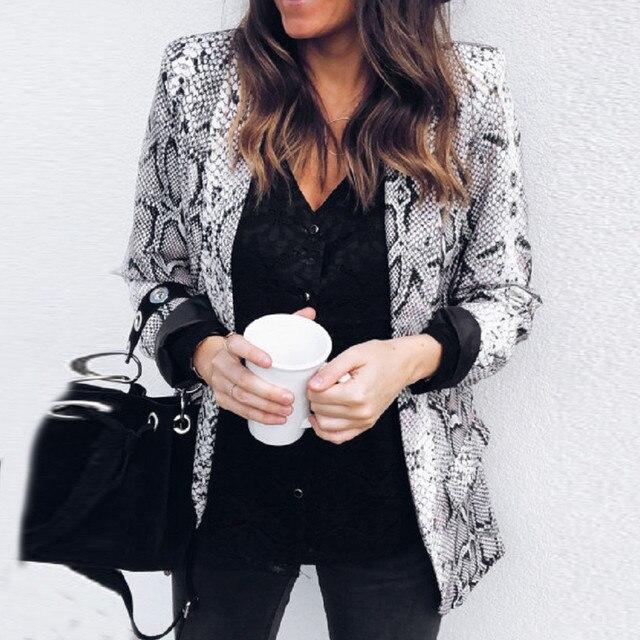 2019 весенняя куртка со змеиным принтом для женщин Slim Fit Формальное пальто мода длинный рукав Блейзер Пальто Женская верхняя одежда повседневное Casaco Femme