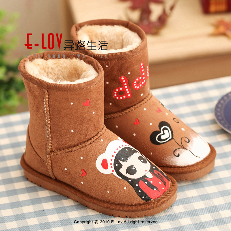 ФОТО E-LOV Red girl & heart printing shoes superstar winter boots chlidren winter shoes botas warm hand-painted high wedges boots