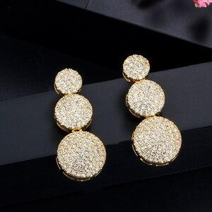 Image 5 - CWWZircons 3 Pcs Hohe Qualität Cubic Zirkon Dubai Gold Halskette Schmuck Set für Frauen Hochzeit Abend Party Kleid Zubehör T349