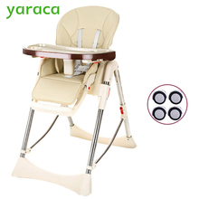 Baby Highchair Foldable High Chair For Kids Adjustable Feeding Chair With PU Leather Cushion Dining Table With Wheels(China)