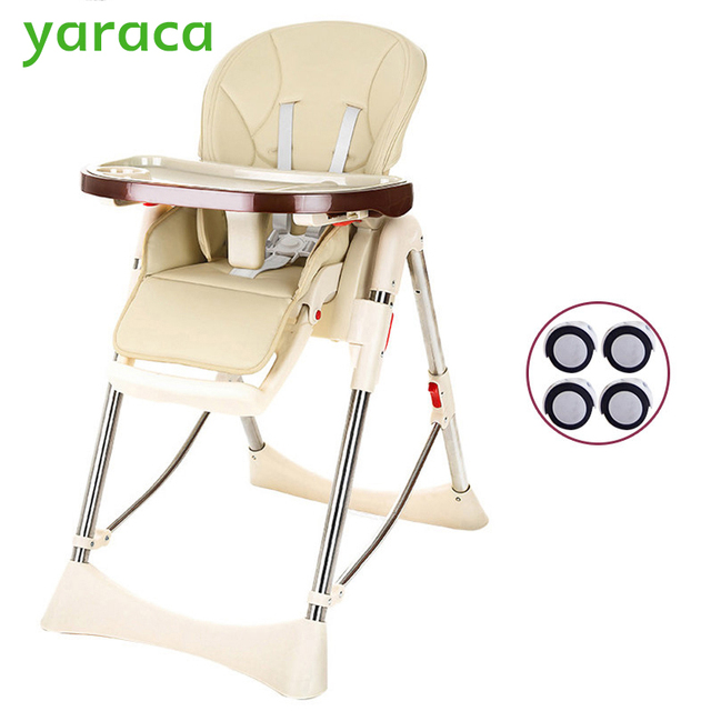 baby highchair foldable high chair for kids adjustable feeding chair with pu leather cushion dining table