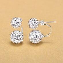Женские серьги гвоздики из серебра 925 пробы с двойным кристальным
