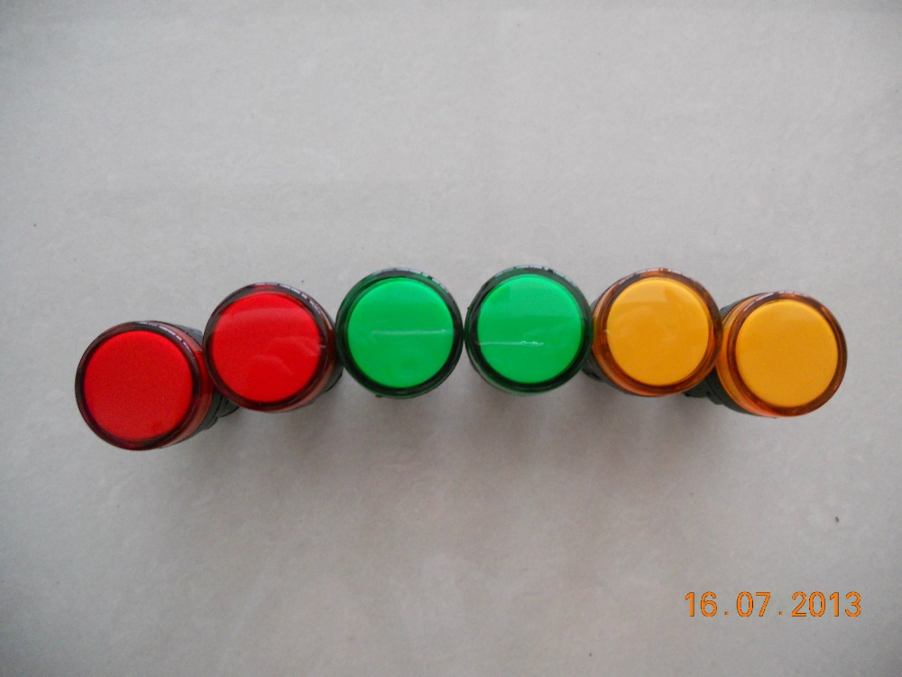 About 2 Pcs Ac 220v Electrical Circuit Green Led Indicator Pilot Light