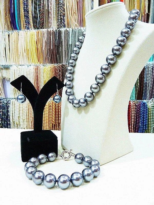 53f28db7583f Mano 14mm blanco azul gris verde negro oro mar Shell perla collar pulsera  aretes de bisutería  1 en Sistemas de la joyería de Joyería y accesorios en  ...