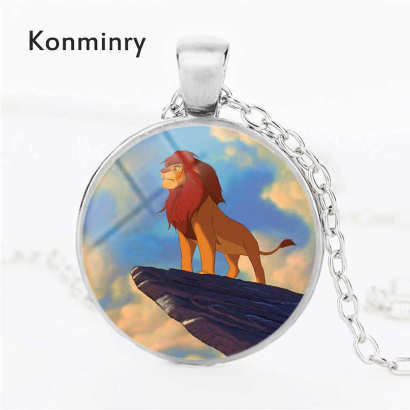 Konminry Bạc/Đồng/Đen Màu Sắc Animation Sư Tử Vòng Cổ Phong Cách Art Vòng Glass Dome Pattern Pendant Necklace Đối Với Phụ Nữ