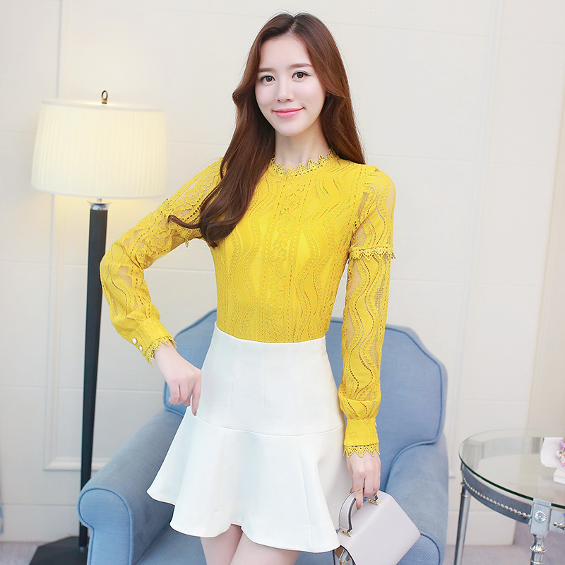 2018 new long sleeve solid lace Women clothing spliced hollow out women tops plus size casual women blouses shirt blusas D117 30