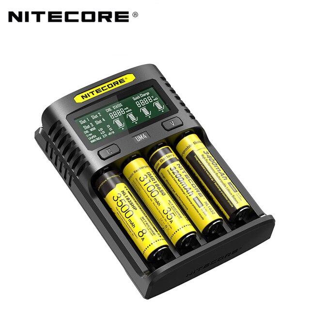 100% oryginalny Nitecore UM4 UM2 USB QC ładowarka inteligentny obwód globalne ubezpieczenie li-ion AA AAA 18650 21700 26650