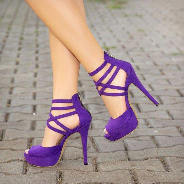 FSJ Purple Peep Toe Heels Suede