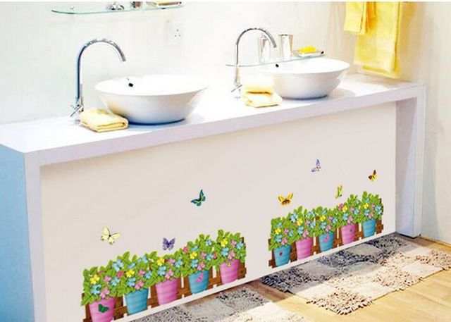 Fence Potted Plant Skirting Line Country Style Wall Stickers Living - Bathroom showcase