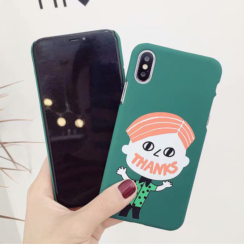 Fashion Cute Cartoon character Funny girl boy Lovers Phone Cases Hard plastic PC Back Cover For iPhone 6 6s 7 8 X Plus Case