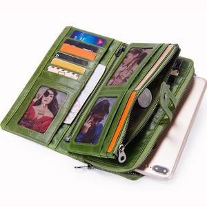 Image 2 - 連絡の本革の女性の財布ファッションレディースロングクラッチ財布ジッパーデザインコイン財布高品質カードホルダーバッグ