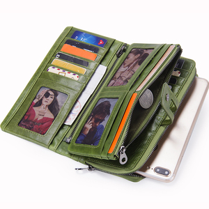 Image 2 - Contacts Genuine Leather Women Wallets Fashion Ladies Long Clutch Wallet Zipper Design Coin Purse High Quality Card Holder Bags