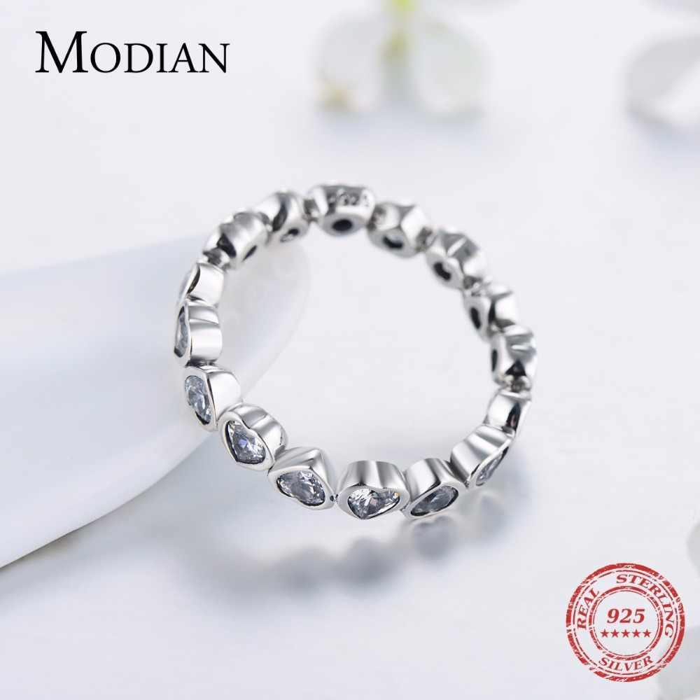 Modian clásico de la moda de joyería de circonia cúbica Plata de Ley 925 auténtica corazones de amor anillo de la eternidad anillo de imitación bandas joyas