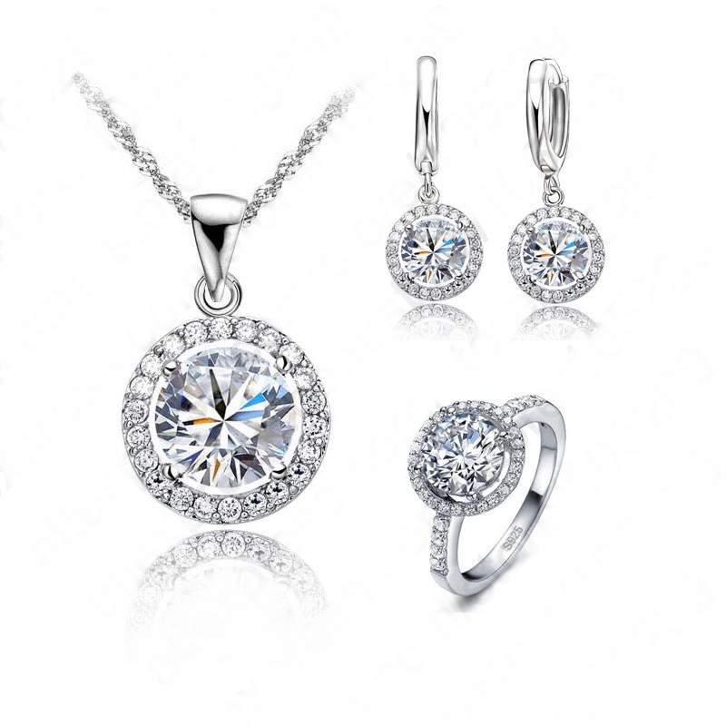 Top Quality Exquisite Women Wedding Necklace Earring Ring Jewelry Set 925 Sterling Silver Platinum Plated Crystal