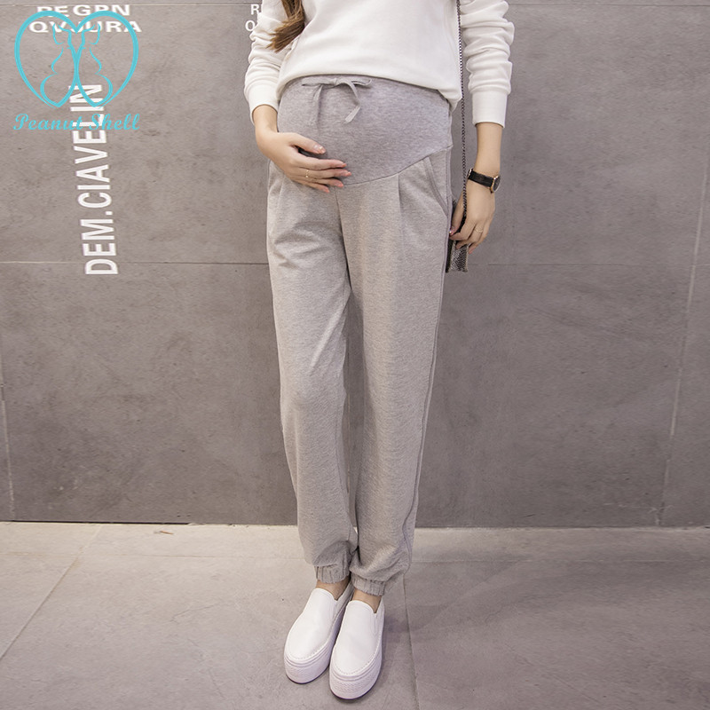 08# Autumn Knitted Sport Maternity Jogger Pants Drawstring High Waist Belly Casual Clothes for Pregnant Women Pregnancy Trousers