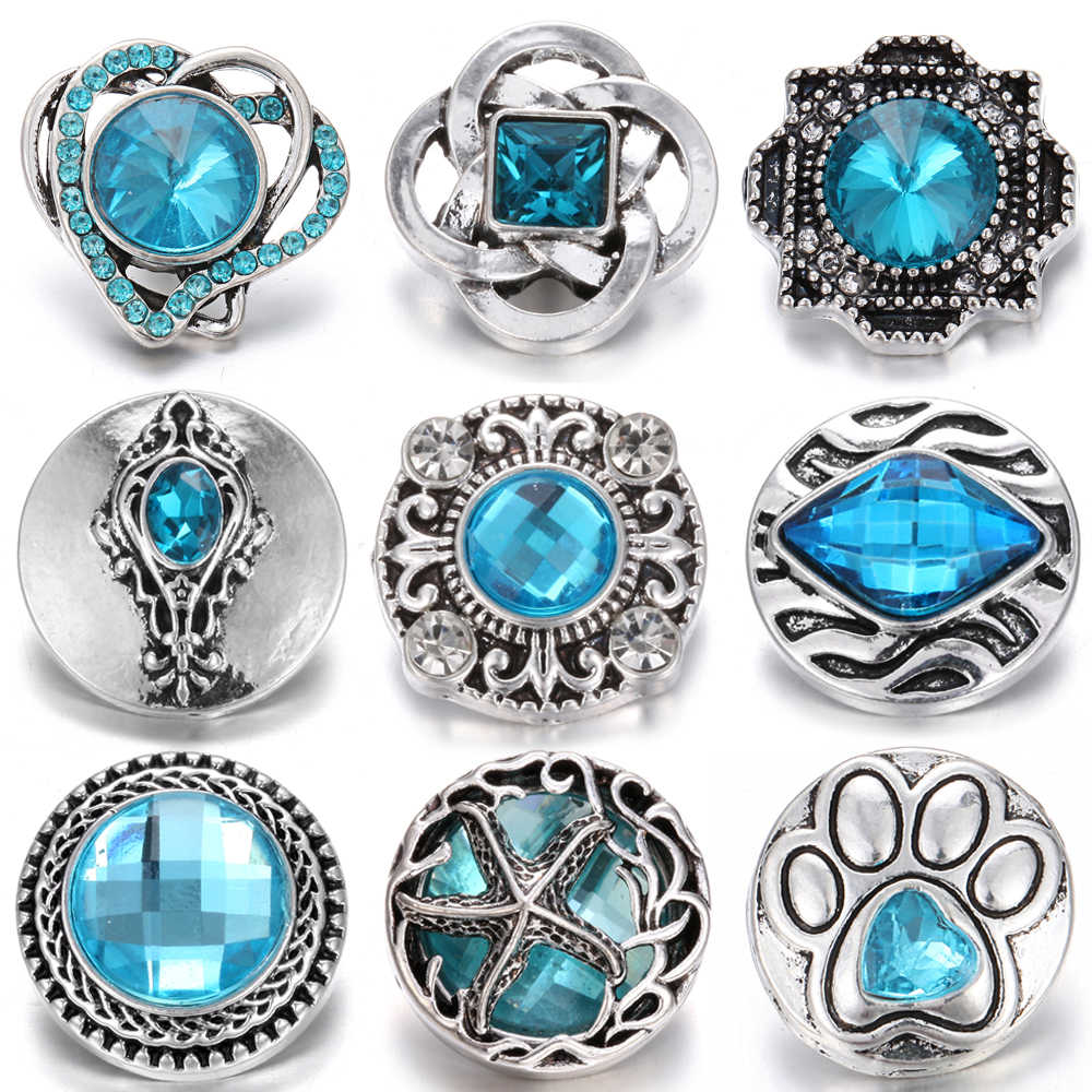 10pcs/lot 18mm Snap Jewelry Rhinestone Metal Snap Buttons Jewelry Fit DIY Snap Button Bracelet Necklace for Women Men Jewelry