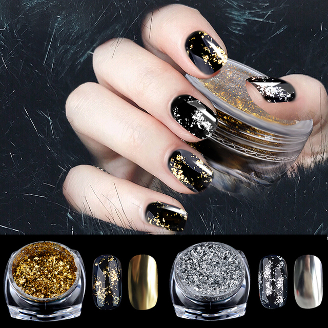 1box 0 2g Gold Silver Nail Art Glitter Aluminum Flakes Magic Mirror Effect Powders Diy