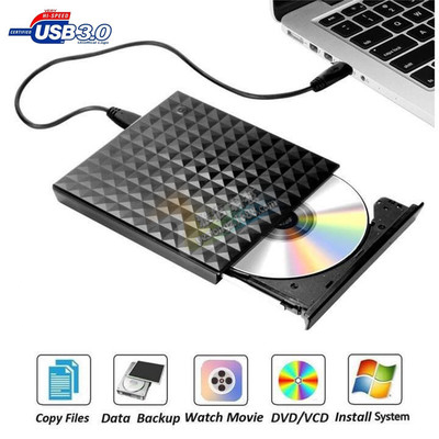 USB3.0 DVD ROM burner embossed 3D diamond pattern external DVD player optical drive portable dvd player for windows for laptop-in Optical Drives from Computer & Office