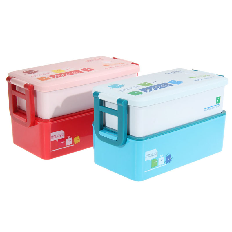 eco friendly double layers portable box microwave lunch bento with tableware candy color bento. Black Bedroom Furniture Sets. Home Design Ideas