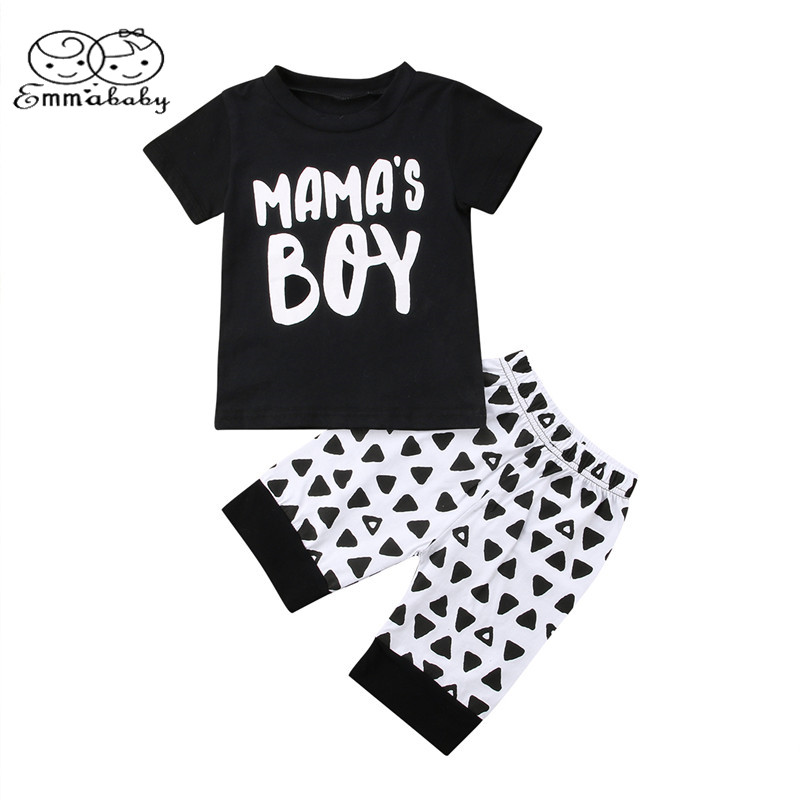 Emmababy Kids Newborn Baby Boys Letter Mama Boy Tops Short Sleeve T-shirt+Short Pants Outfits 2Pcs Set Clothes