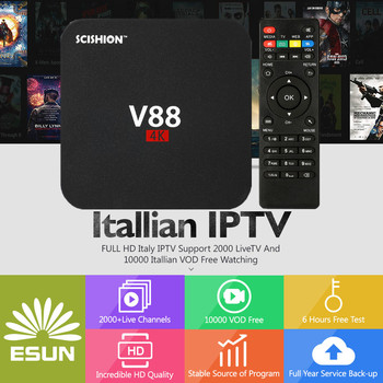 1/3/6/12 Months Italy IPTV Europe IPTV V88 Support Android m3u enigma2 mag250 and tvonline TVIP 2000+Vod XXX supported Set-top Boxes