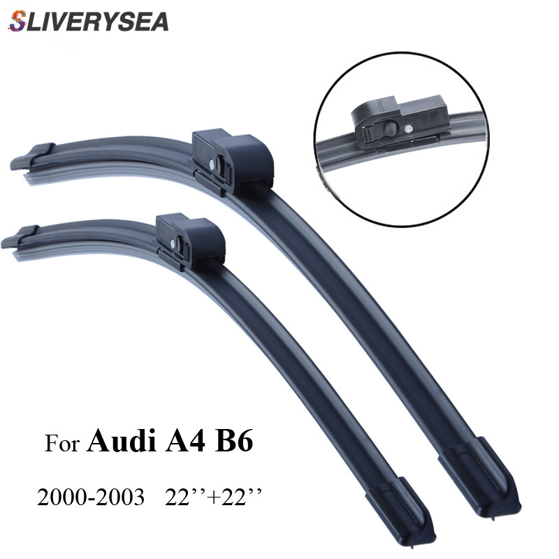 SLIVERYSEA Front and Rear Wiper Blade no Arm For Audi A4 8E 8H B6 2000 2006 High Quality Natural Rubber Windscreen kit in Windscreen Wipers from Automobiles Motorcycles