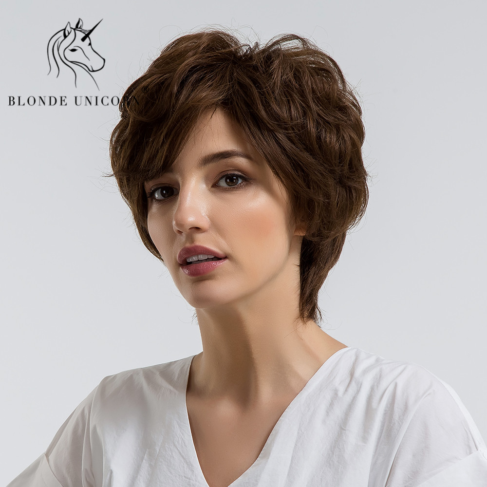 Hearty Blonde Unicorn 8 Inch Short Straight Pixie Cut Hair Wig For Women Fluffy Multi-layers Curly With Side Bangs 3 Colors Free Ship Hair Extensions & Wigs Synthetic Blend Wigs