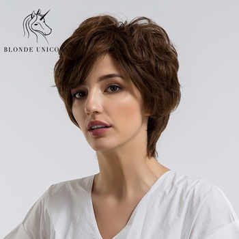 BLONDE UNICORN 8 Inch Short Straight Pixie Cut Hair Wig For Women Fluffy Multi-layers Curly With Side Bangs 3 Colors Free Ship - DISCOUNT ITEM  30% OFF Hair Extensions & Wigs